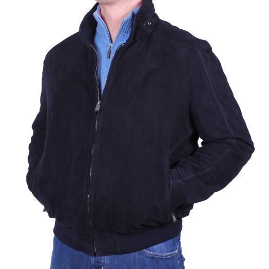 Midnight Blue Calf Suede Bomber Jacket