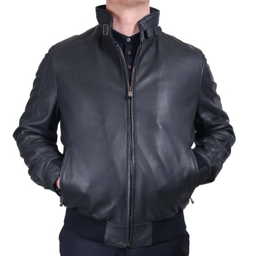 Midnight Blue Textured Leather Bomber Jacket