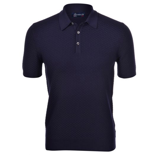Navy-Blue Brick Stitch Knitted Cotton Polo Shirt