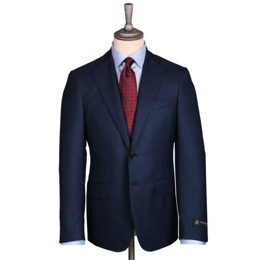 Navy-Blue Houndstooth 4-Seasons Wool Suit
