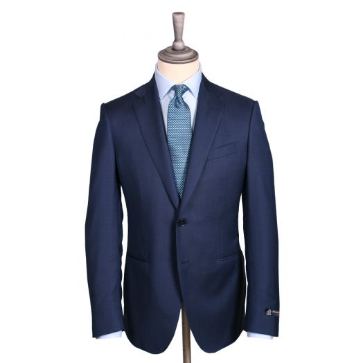 Navy-Blue Micropattern Virgin Wool Summer Suit