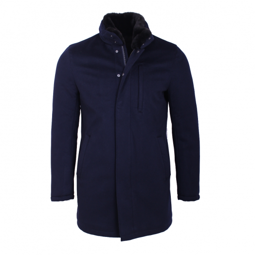 Navy-Blue Pure Cashmere Overcoat with Fur Collar