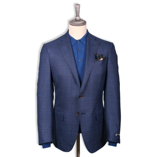 Navy-Blue & Red Micro-Effect Wool Jacket