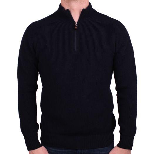 Navy 1/4 Zip Virgin Wool Sweater