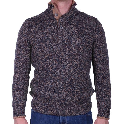 Navy & Beige Button-Neck Knitted Virgin Wool Sweater