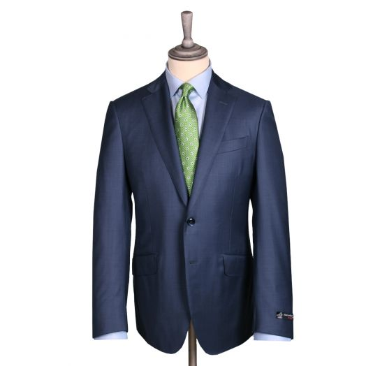 Navy Blue Pure Merino Wool Twill Suit