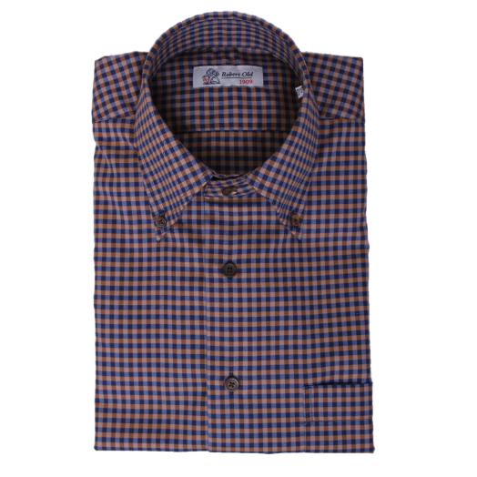 Navy & Bronze Check Long Sleeve Swiss Cotton Shirt