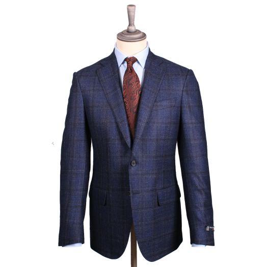 Navy & Brown Overcheck Wool Blend Jacket