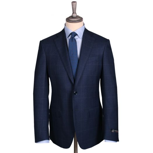 Navy & Brown Prince of Wales Check 4-Seasons Suit