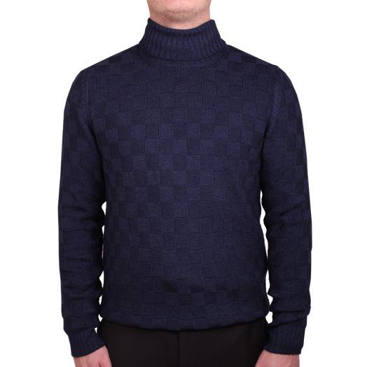 Navy Checker Weave Virgin Wool Roll Neck