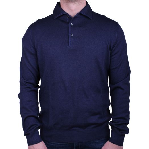 Navy Garment Dyed Wool Polo Sweater