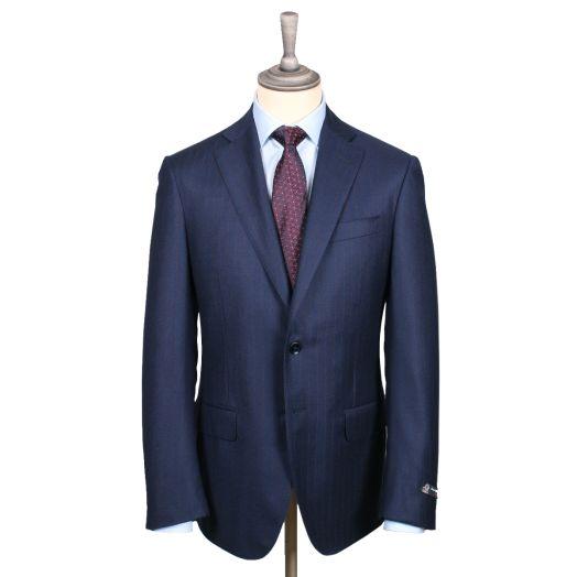 Navy & Red Pinstripe Flannel Virgin Wool Suit