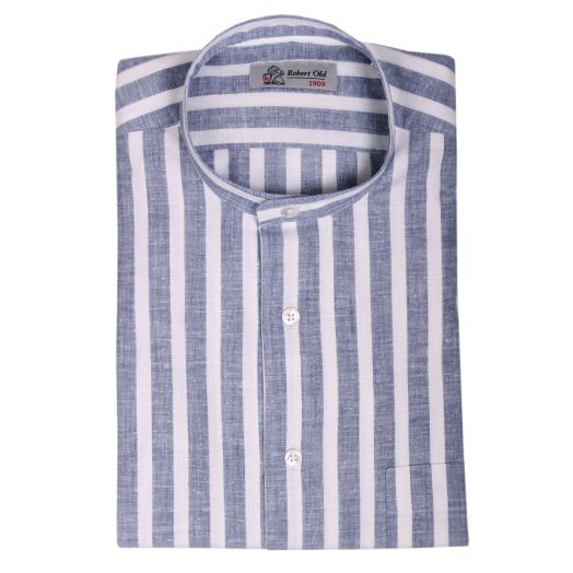 Navy & White Bar Stripe Zephir Cotton Shirt