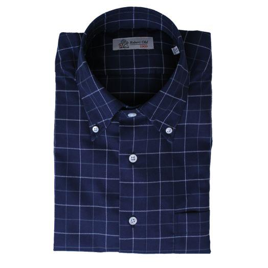 Navy Windowpane Long Sleeve Cotton Shirt