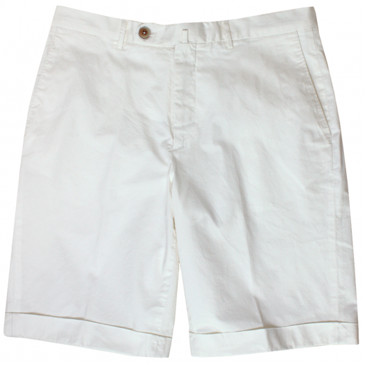 Off-White Cotton Stretch Slim Chino Shorts