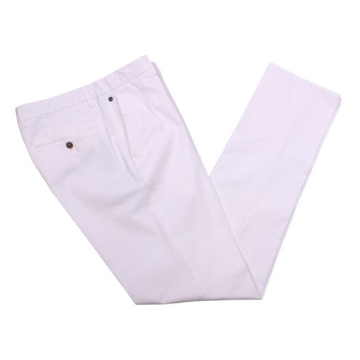 Off-White Cotton Stretch Slim Fit Chinos
