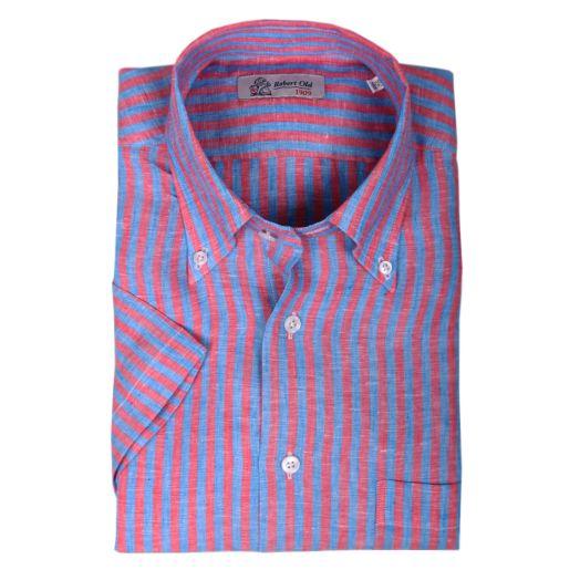 Red & Blue Print Stripe Linen Short Sleeve Shirt