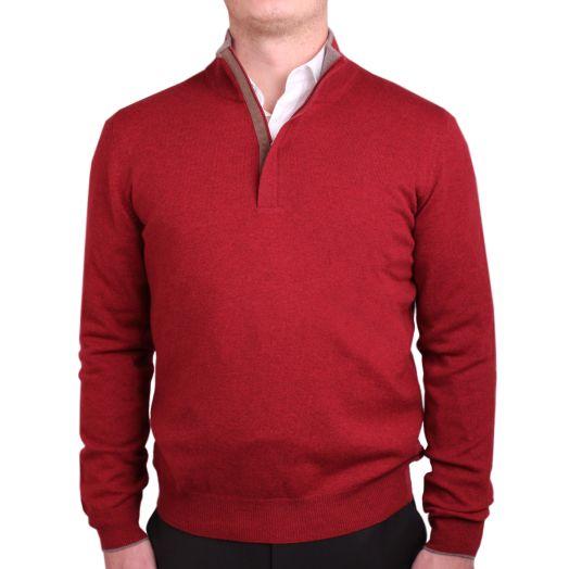 Red & Grey Wool & Cashmere Blend Zip-Neck Sweater