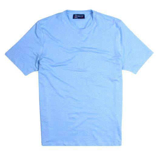 Sky-Blue Natural Stretch Linen T-Shirt