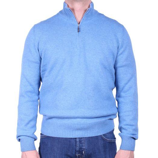 Sky-Blue Virgin Wool & Cashmere Blend Zip Neck Sweater