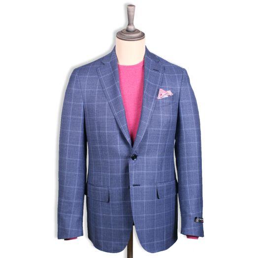 Steel Blue Overcheck Wool Jacket