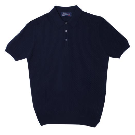 Navy Waffle Weave Cotton Polo Shirt
