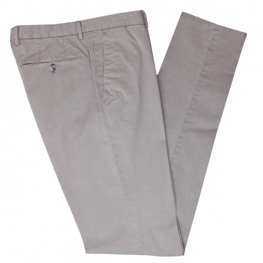 Warm Grey Cotton Stretch Slim Fit Chinos