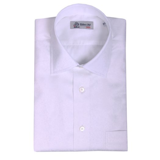 White Patterned 2Ply Swiss Cotton Dobby Shirt