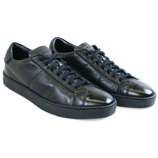 Black Nappa Leather Sneakers
