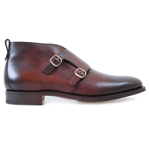 Dark Brown Leather Double Buckle Monk Boots