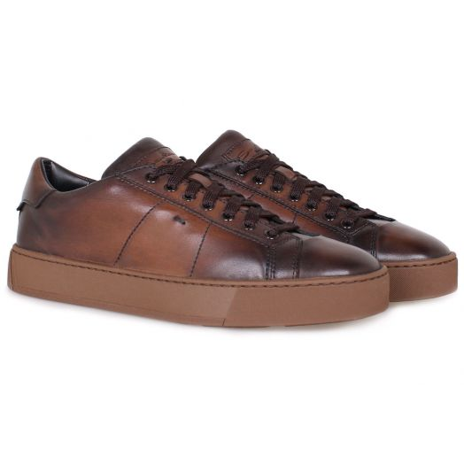 Brown Leather Low-Top Sneakers