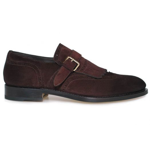 Dark Brown Suede Single Buckle Fringe Loafer