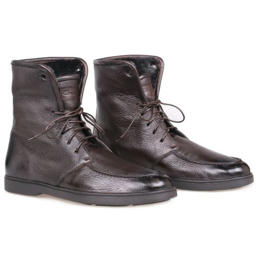 Brown Deerskin Shearling Lined Boots