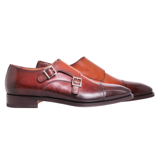 Brown Double Buckle Monk Shoes