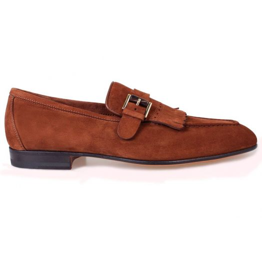 Light Brown Suede Single Buckle Fringe Loafer