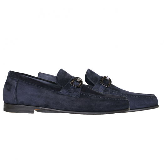 Navy Blue Suede Leather Loafers