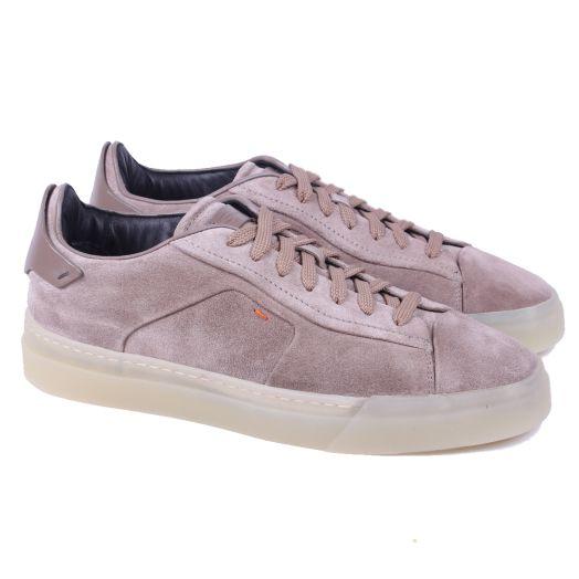 Beige Suede & Gum Sole Low-Top Sneaker