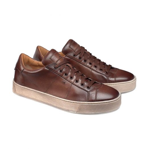 Santoni Brown Aged Leather Low-Top Sneakers