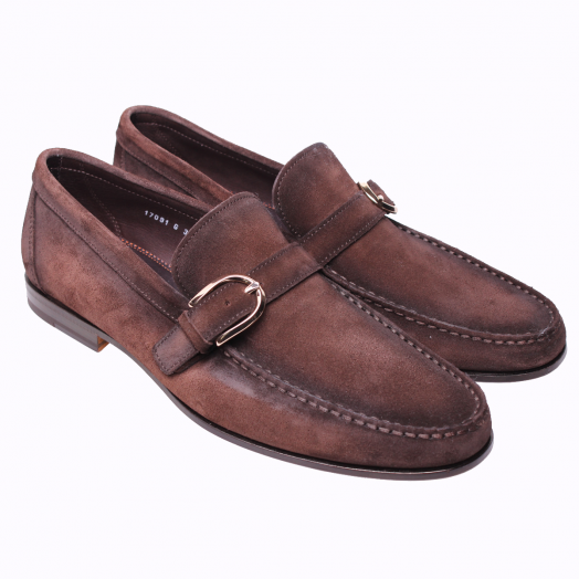 Brown Slip On Single Buckle Suede Loafers