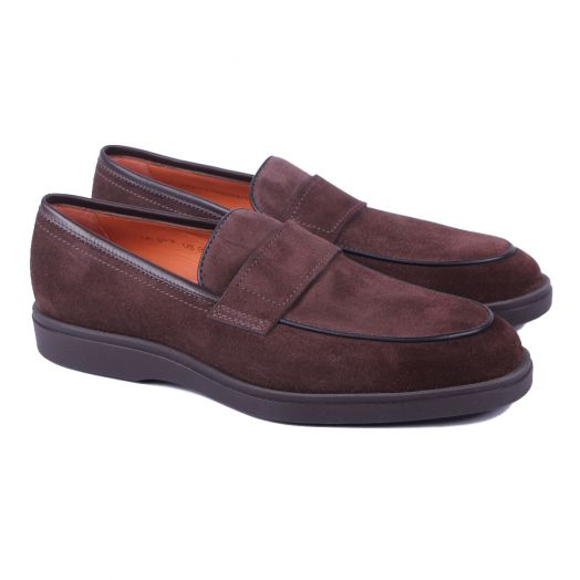 Brown Suede Classic Slip-On Loafers