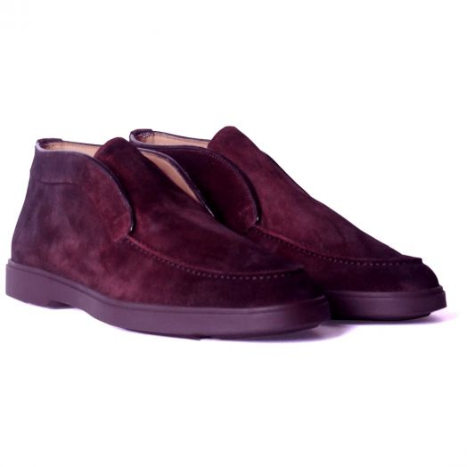 Burgundy Suede Slip-On Chukka Shoes