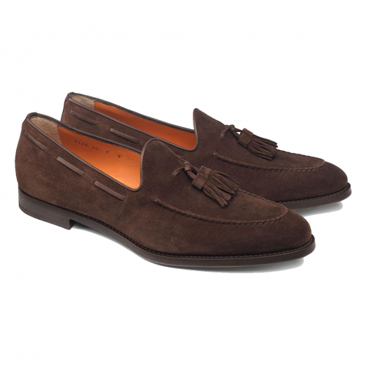 Dark Brown Handmade Suede Tassel Loafers