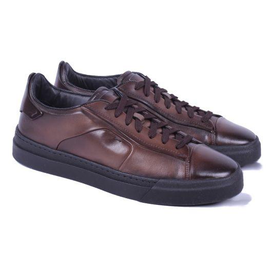 Dark Brown Leather & Black Sole Low-Top Sneaker