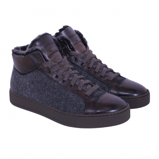 Dark Brown Leather & Grey Fabric Hi-Top Sneakers