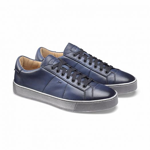 Blue Leather Low-Top Sneakers