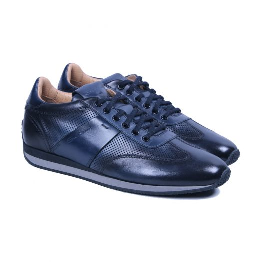 Navy-Blue Lace-Up Leather Sneaker