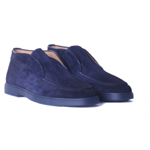 Navy Blue Suede Slip-On Chukka Shoes