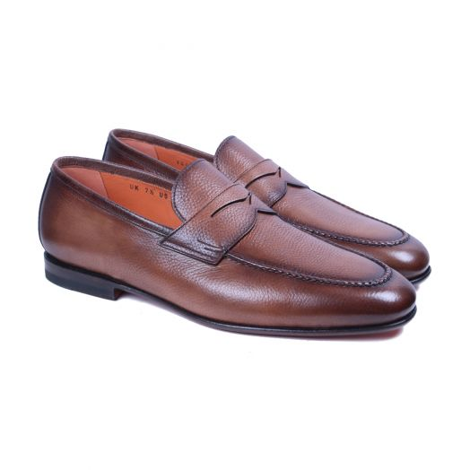 Tan Hand-Aged Pebble Grain Leather Loafers