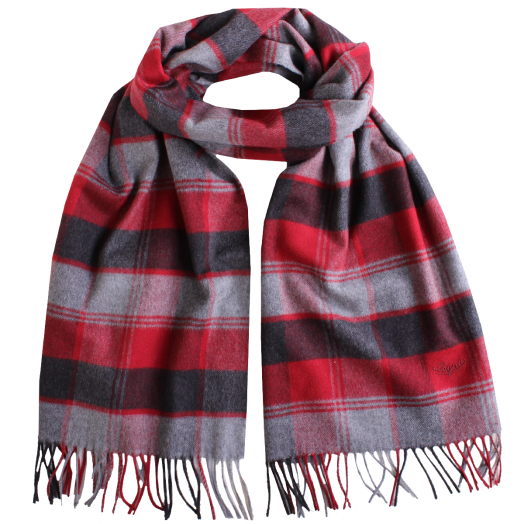 Red & Grey Check 100% Pure Silk Scalf