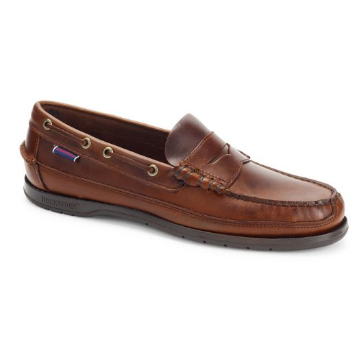 Brown Gum Sloop Waxed Leather Loafer